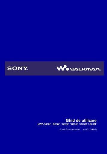 Sony NWZ-S639F - NWZ-S639F Istruzioni per l'uso Rumeno
