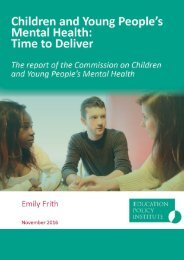 Children and Young People's Mental Health Time to Deliver