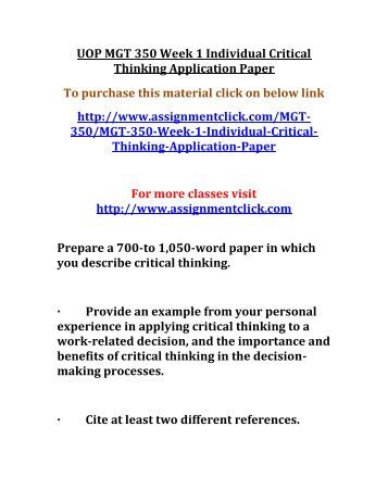 mgt 350 falicies paper Read this essay on fallacy summary and application paper critical thinking application paper mgt 350 ben franklin fallacies paper.