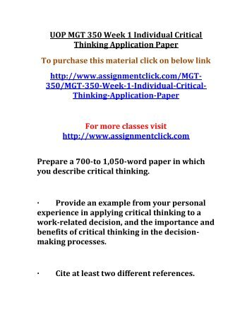 mgt 350 week 1 individual assignment Mgt 448 is a online tutorial store we provides mgt 448 week 2 learning team assignment comprehensive analysis outline.