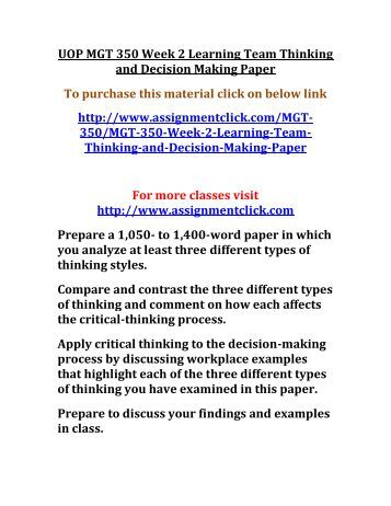 thinking and decision making paper essay