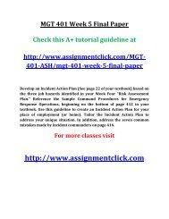 ASH MGT 401 Week 5 Final Paper