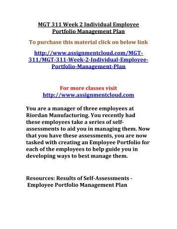 UOP MGT 311 Week 2 Individual Employee Portfolio Management Plan