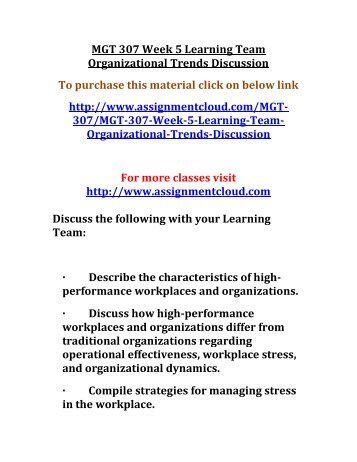 UOP MGT 307 Week 5 Learning Team Organizational Trends Discussion