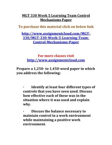 UOP MGT 330 Week 5 Learning Team Control Mechanisms Paper