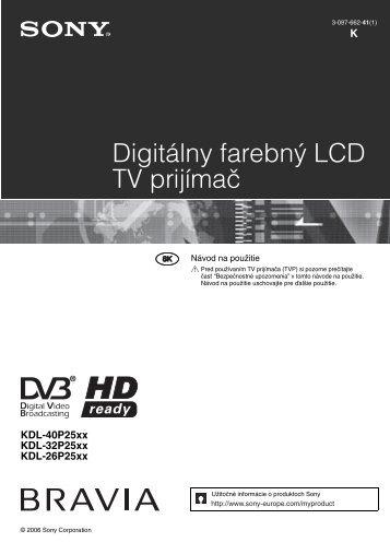 Sony KDL-26P2520 - KDL-26P2520 Istruzioni per l'uso Slovacco
