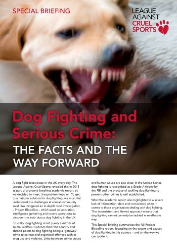 Dog Fighting and Serious Crime