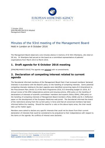 Minutes of the 93rd meeting of the Management Board