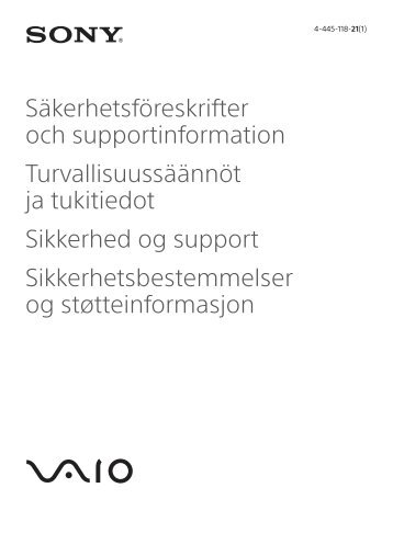 Sony SVE1512M6E - SVE1512M6E Documenti garanzia Svedese