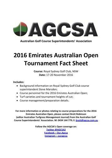 2016 Emirates Australian Open Tournament Fact Sheet