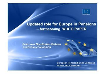Updated role for Europe in Pensions