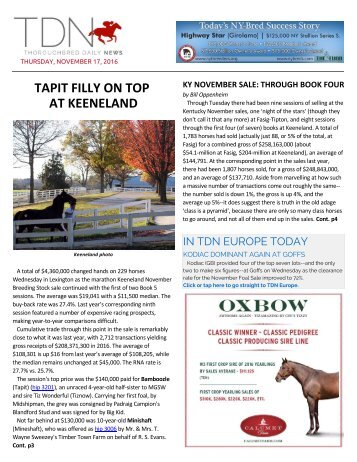 TAPIT FILLY ON TOP AT KEENELAND