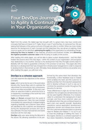 White Paper - Four DevOps Journeys to Agility and Continuity in Your Organization