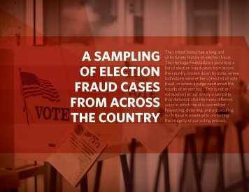 A SAMPLING OF ELECTION FRAUD CASES FROM ACROSS THE COUNTRY