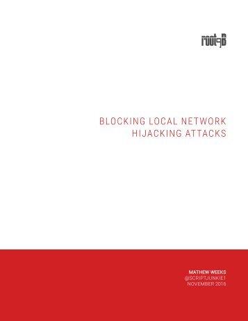 BLOCKING LOCAL NETWORK HIJACKING ATTACKS