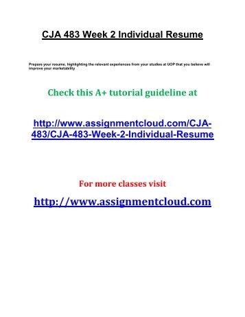 CJA 483 Week 2 Individual Resume