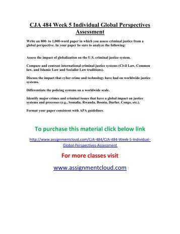 CJA 484 Week 5 Individual Global Perspectives Assessment