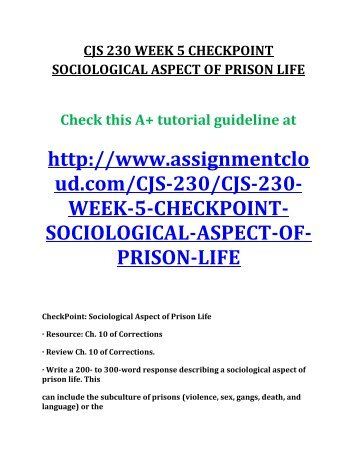 sociological aspects of prison life Describe a sociological aspect of prison life can include the subculture of prisons (violence, sex, gangs, death, and language.