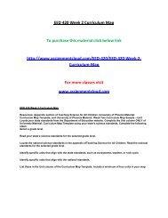 EED 420 Week 2 Curriculum Map