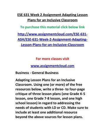 critique on a lesson plan