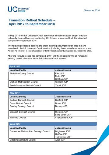 Transition Rollout Schedule – April 2017 to September 2018
