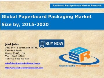 Global Paperboard Packaging Market Size by, 2015-2020