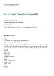 Europe Portable Printer Market Report 2016