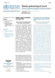 Weekly epidemiological record Relevé épidémiologique hebdomadaire