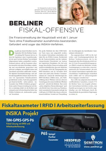 Taxi Times Berlin - Berliner Fiskal Offensive