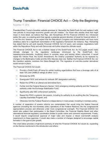 Trump Transition Financial CHOICE Act — Only the Beginning