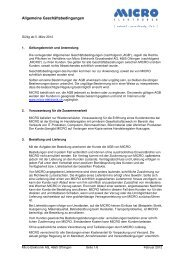 Allgemeine Geschäftsbedingungen - Micro Elektronik Grosshandel AG