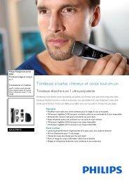 Philips Multigroom series 5000 Tondeuse visage et corps 6 en 1 - Fiche Produit - FRA
