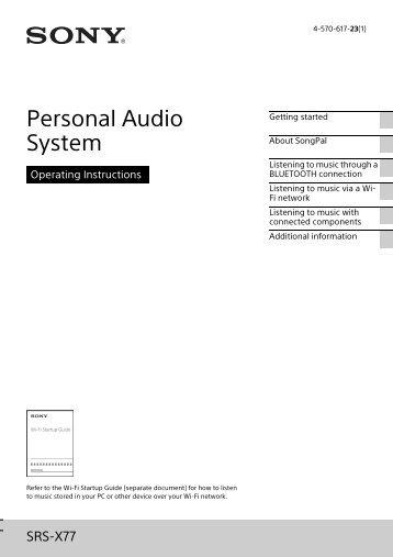 Sony SRS-X77 - SRS-X77 Istruzioni per l'uso Inglese