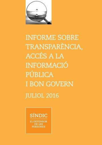 INFORME SOBRE TRANSPARÈNCIA ACCÉS A LA INFORMACIÓ PÚBLICA I BON GOVERN