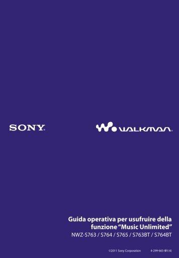 Sony NWZ-S765BT - NWZ-S765BT Istruzioni per l'uso Italiano