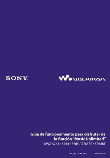 Sony NWZ-S765BT - NWZ-S765BT Istruzioni per l'uso Spagnolo