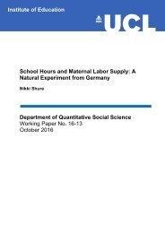 Department of Quantitative Social Science Working Paper No 16-13 October 2016