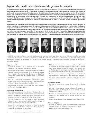 Rapport du comité de vérification et de gestion des risques
