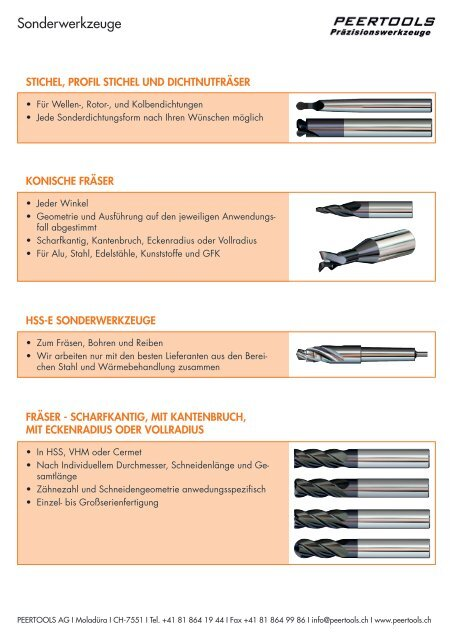 PEERTOOLS AG. Sonderwerkzeuge