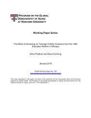 PROGRAM GLOBAL DEMOGRAPHY AGING HARVARD UNIVERSITY