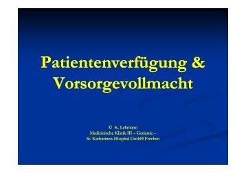 Was ist eine Patientenverfügung? - St. Katharinen-Hospital GmbH