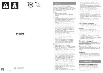 Philips SatinShave Advanced Rasoir électrique 100 % étanche - Instructions avant utilisation - IND