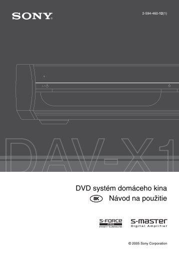Sony DAV-X1 - DAV-X1 Istruzioni per l'uso Slovacco