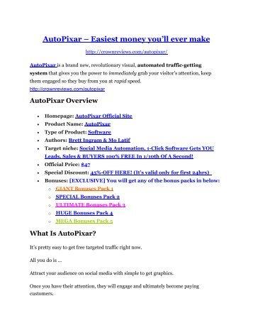 AutoPixar REVIEW and GIANT $21600 bonuses