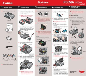 Canon PIXMA iP4200 - iP4200 Easy Setup Instructions