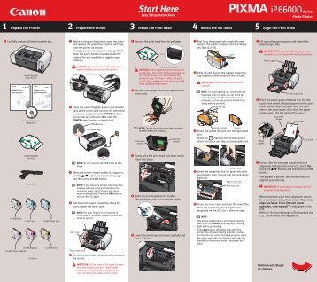 Canon PIXMA iP6600D - iP6600D Easy Setup Instructions
