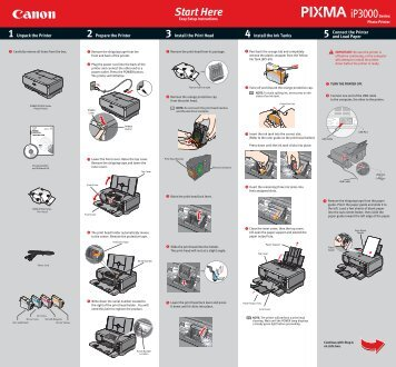 Canon PIXMA iP3000 - iP3000 Easy Setup Instructions