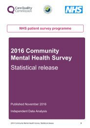 Mental Health Survey Statistical release