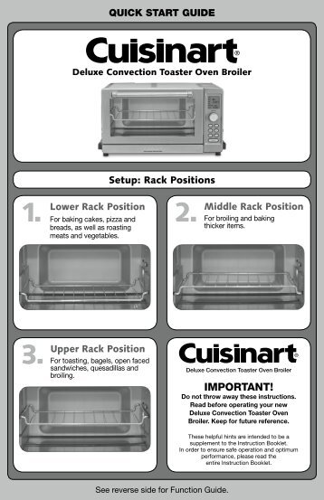 Cuisinart Deluxe Convection Toaster Oven Broiler -TOB-135N - Quick Reference