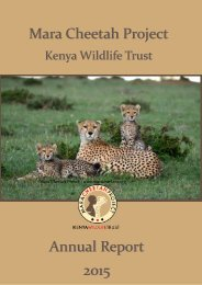KWT Mara Cheetah Project - Annual report 2015